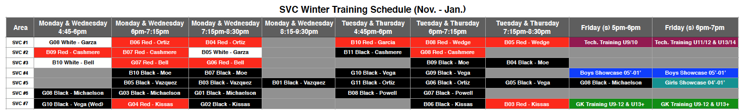 SVC Winter Training Schedule (Nov. & Jan.)